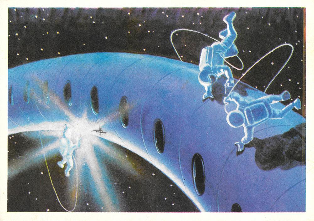 Новым годом, человек в космосе открытки